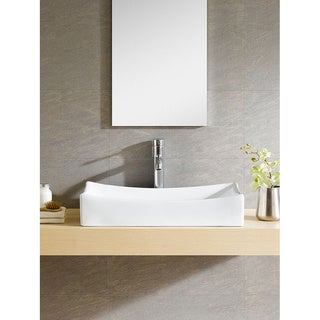Somette Vitreous China Sloping Rectangular White Vessel Sink