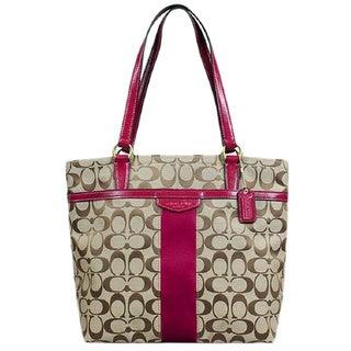 Coach Signature Merlot Stripe Tote Bag