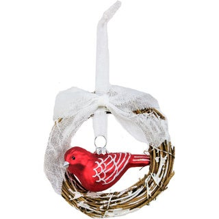 Sage & Co Rattan 6-inch Wreath with Red Bird Ornament (Set of 12)