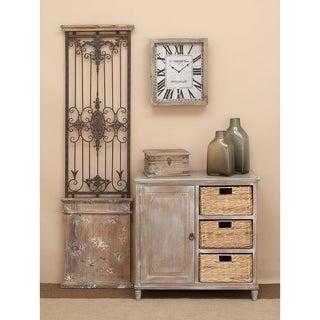 Wooden Brown 32-inch 3-basket Storage Cabinet