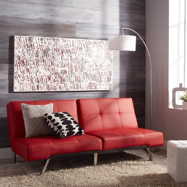 ABBYSON LIVING Aspen Red Bonded Leather Futon Sleeper Sofa