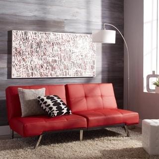 ABBYSON LIVING Aspen Red Bonded Leather Convertible Sofa