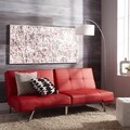 ABBYSON LIVING Aspen Red Leather Foldable Futon Sleeper Sofa Bed