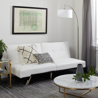 ABBYSON LIVING Aspen Ivory Leather Foldable Futon Sleeper Sofa Bed