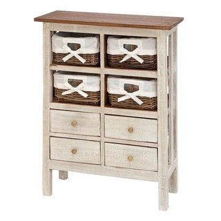 Wooden Off-white 4-basket 36-inch Storage Cabinet