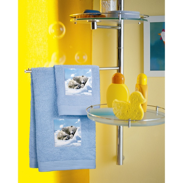 Bassetti Blue Polar Bear Washcloth (Set of 2)