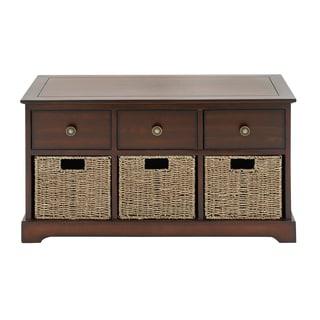 Wooden Brown 20-inch 3-basket Storage Chest