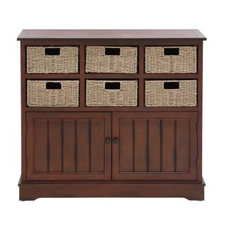 Wooden Brown 35-inch 6-drawer Storage Cabinet