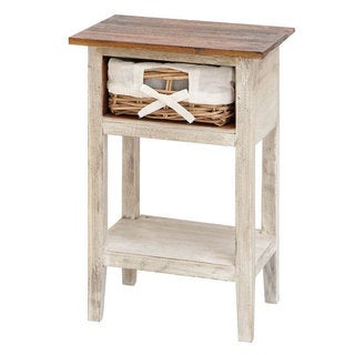 Solid Wood Rattan Accent Table
