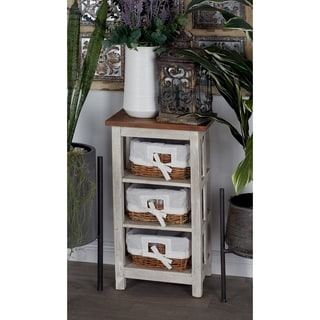 Solid Wood Rattan Cabinet, 3-Level
