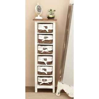 Solid Wood Rattan Cabinet, 6-Level
