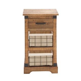 Wooden Metal 2-Basket Chest