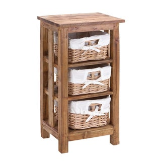 Mahogany Rattan 3-Basket Cabinet
