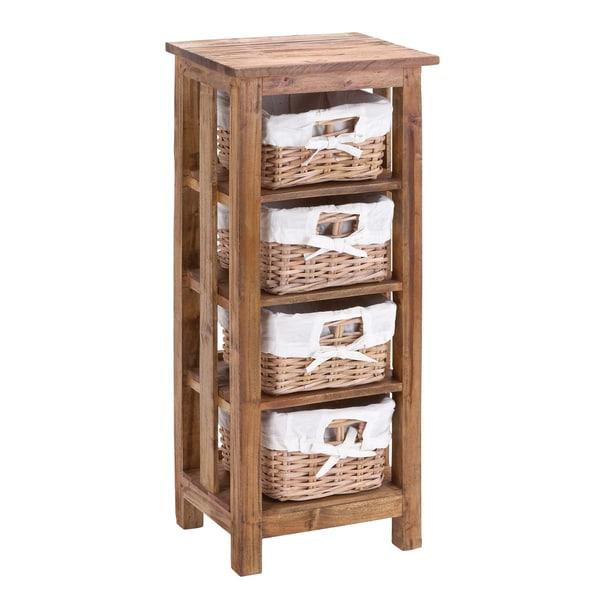 Mahogany Rattan 4-Basket Cabinet