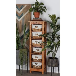 Wood Chest with 6-Rattan Drawers