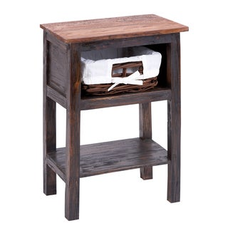 Wooden Rattan End Table