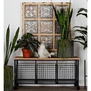 Iron and Wood 3-bin Storage Bench