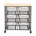 Iron and Wood 6-bin Storage Cart