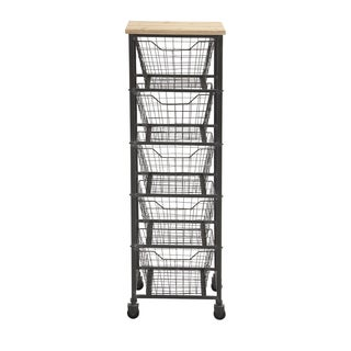 Metal 50-inch 5-drawer Wheeled Storage Cart