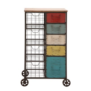 Metal 45-inch Multi-colored Wheeled Storage Cart