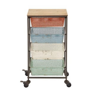 Metal 32-inch 4-drawer Multi-colored Storage Cart