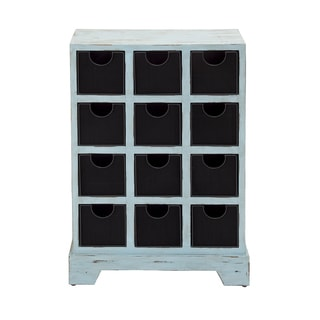 Wood/ Iron Blue 32-inch 12-drawer Storage Chest