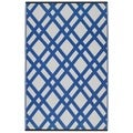 Indo Dazzling Dublin Blue and White Recycled Plastic Area Rug (6' x 9')