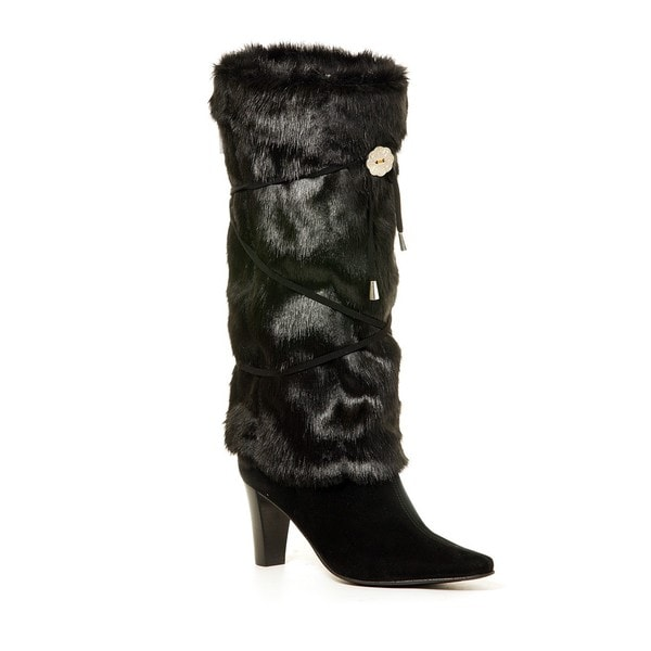 Black Faux Fur Crisscross Lacing Boot Wrap