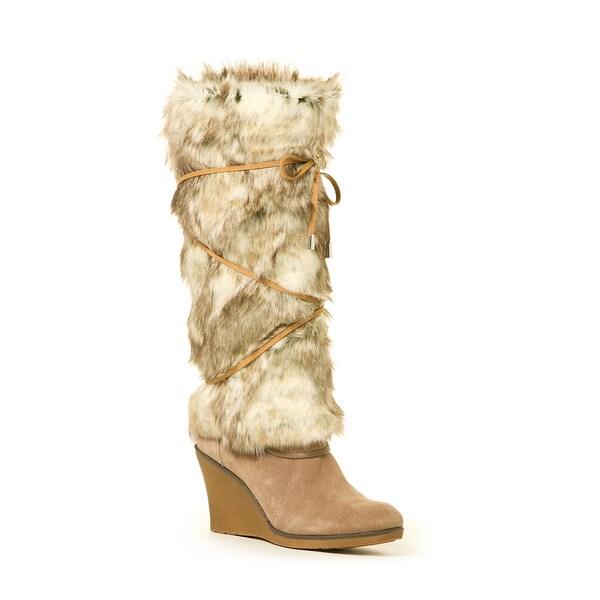 Faux Rabbit Tan Crisscross Lace Boot Wrap
