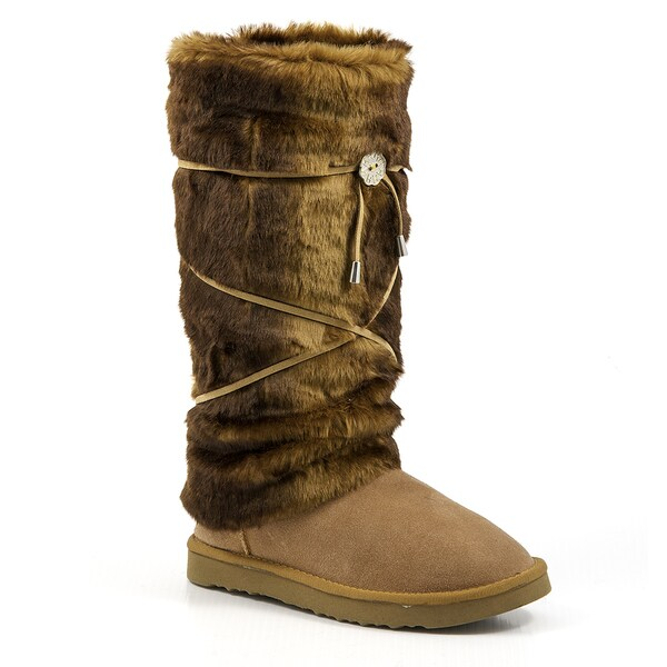 Hugrz Brown Beaver Style Boot Wraps with Tan Lacing
