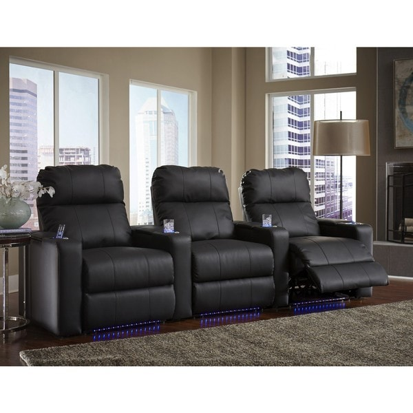Executive Black Bonded Leather Straight Row Home Theater Seating Set with Manual Recline
