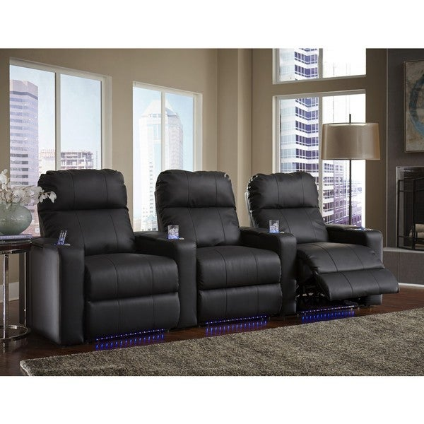 Black Bonded Leather Straight Row Power Recline Home Theater Seating