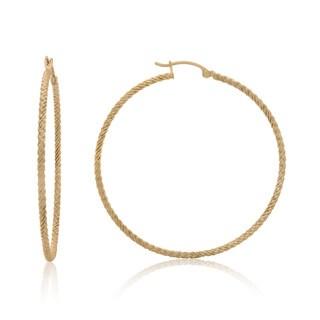 Gioelli 14k Yellow Gold Twisted Rope Hoop Earrings