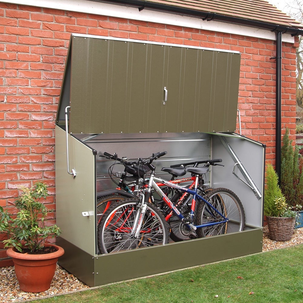 trimetals green outdoor heavy duty steel bicycle storage. Black Bedroom Furniture Sets. Home Design Ideas