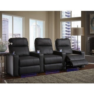Black Leather/ Match Straight Row Home Theater Seating with Power Recline