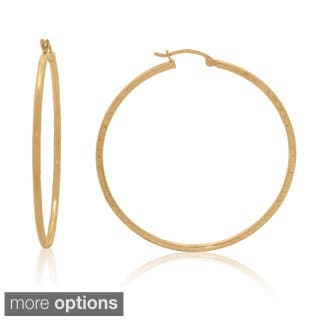 Gioelli 14k Yellow Gold Diamond Cut Designer Hoop Earrings