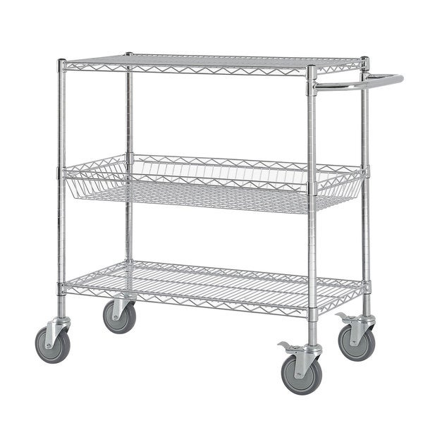 Excel Chrome (45 in H x 36 in W x 18 in D) Chromed Steel Heavy-duty Wire Shelving Cart