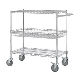 Excel Chrome (40 in H x 36 in W x 18 in D) Chromed Steel Heavy-duty Wire Shelving Cart