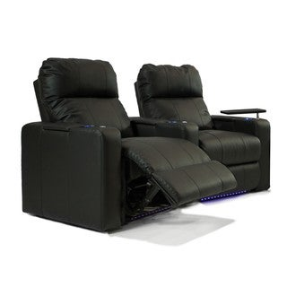 Home Theater Seating Leather/ Match, Curved Row with Power Recline - Black