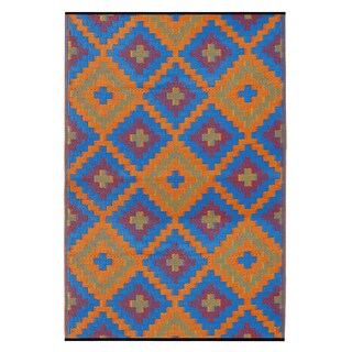 Indo Saman Blue and Orange Geometric Area Rug (6' x 9')