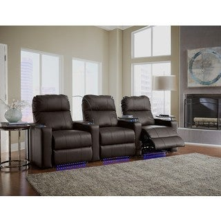 Home Theatre Seating Leather/ Match, Straight Row with Power Recline - Brown
