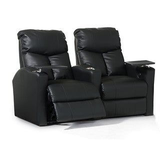 Home Theater Seating Leather/Match, Straight Row with Power Recline - Black