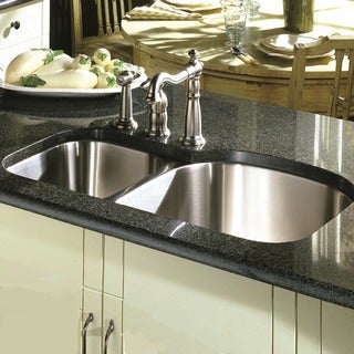 16-Gauge Stainless Steel Double Bowl Undermount Kitchen Sink with Two Colander Drains.