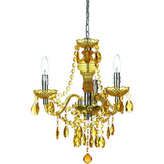 angelo:HOME Gold Faux Crystal 3-light/ 5-light Swag Plug-in Chandelier
