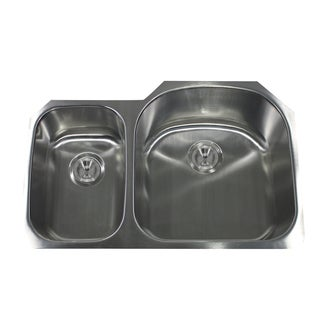 16-Gauge Stainless Steel Double Bowl Undermount Kitchen Sink with Two Colander Drains and Small Bottom Grids.