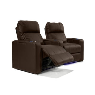 Home Theatre Seating Leather/Match, Curved Row with Power Recline - Brown