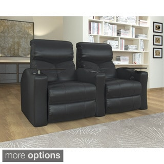 Home Theater Seating Bonded Leather, Straight Row with Manual Recline - Black
