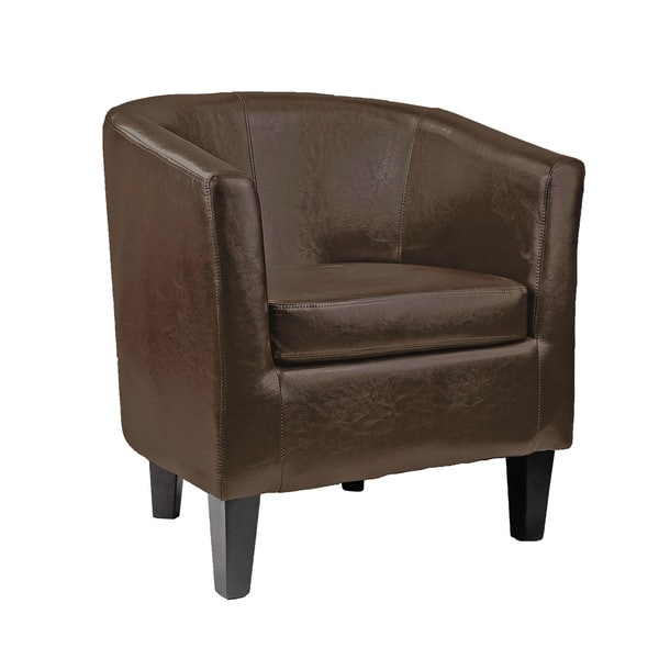 CorLiving Antonio Dark Brown Bonded Leather Tub Chair