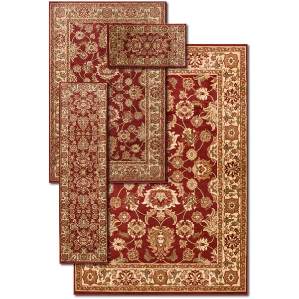 Somette Ersari Red Gallery Rug 4-piece Set