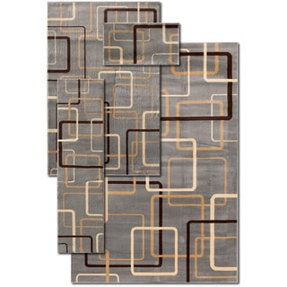 Circuitry Blue Gallery Rug 4-piece Set